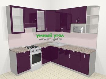 Угловая кухня МДФ глянец в современном стиле 6,7 м², 210 на 230 см, Баклажан, верхние модули 92 см, посудомоечная машина, модуль под свч, отдельно стоящая плита