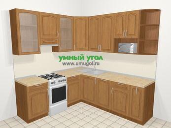 Угловая кухня МДФ патина в классическом стиле 6,7 м², 210 на 230 см, Ольха, верхние модули 92 см, посудомоечная машина, модуль под свч, отдельно стоящая плита
