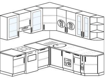 Угловая кухня 6,7 м² (2,1✕2,3 м), верхние модули 92 см, посудомоечная машина, отдельно стоящая плита