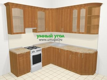 Угловая кухня МДФ матовый в классическом стиле 6,7 м², 210 на 230 см, Вишня, верхние модули 92 см, посудомоечная машина, отдельно стоящая плита