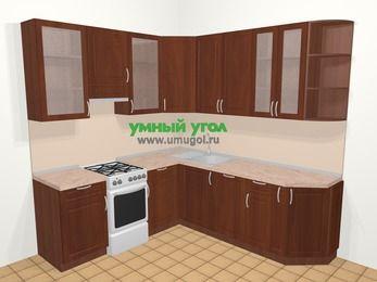 Угловая кухня МДФ матовый в классическом стиле 6,7 м², 210 на 230 см, Вишня темная, верхние модули 92 см, посудомоечная машина, отдельно стоящая плита