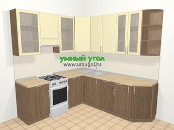 Угловая кухня МДФ матовый в современном стиле 6,7 м², 210 на 230 см, Ваниль / Лиственница бронзовая, верхние модули 92 см, посудомоечная машина, отдельно стоящая плита