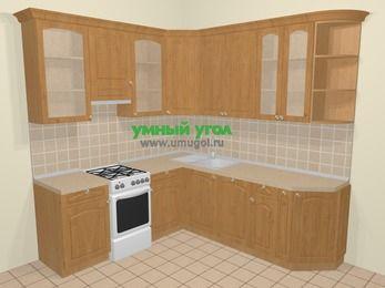 Угловая кухня МДФ матовый в стиле кантри 6,7 м², 210 на 230 см, Ольха, верхние модули 92 см, посудомоечная машина, отдельно стоящая плита