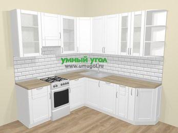 Угловая кухня МДФ матовый  в скандинавском стиле 6,7 м², 210 на 230 см, Белый, верхние модули 92 см, посудомоечная машина, отдельно стоящая плита