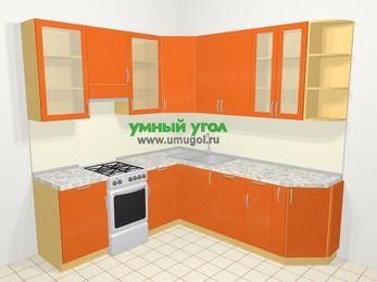 Угловая кухня МДФ металлик в современном стиле 6,7 м², 210 на 230 см, Оранжевый металлик, верхние модули 92 см, посудомоечная машина, отдельно стоящая плита