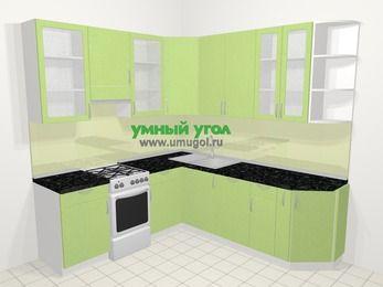 Угловая кухня МДФ металлик в современном стиле 6,7 м², 210 на 230 см, Салатовый металлик, верхние модули 92 см, посудомоечная машина, отдельно стоящая плита