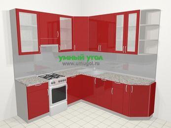 Угловая кухня МДФ глянец в современном стиле 6,7 м², 210 на 230 см, Красный, верхние модули 92 см, посудомоечная машина, отдельно стоящая плита