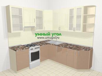 Угловая кухня МДФ глянец в современном стиле 6,7 м², 210 на 230 см, Жасмин / Капучино, верхние модули 92 см, посудомоечная машина, отдельно стоящая плита