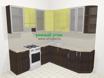 Кухни пластиковые угловые в современном стиле 6,7 м², 210 на 230 см, Желтый Галлион глянец / Дерево Мокка, верхние модули 92 см, посудомоечная машина, отдельно стоящая плита