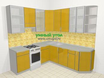 Кухни пластиковые угловые в современном стиле 6,7 м², 210 на 230 см, Желтый глянец, верхние модули 92 см, посудомоечная машина, отдельно стоящая плита
