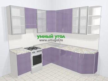 Кухни пластиковые угловые в современном стиле 6,7 м², 210 на 230 см, Сиреневый глянец, верхние модули 92 см, посудомоечная машина, отдельно стоящая плита