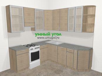 Кухни пластиковые угловые в стиле лофт 6,7 м², 210 на 230 см, Чибли бежевый, верхние модули 92 см, посудомоечная машина, отдельно стоящая плита