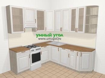 Угловая кухня МДФ патина в классическом стиле 6,7 м², 210 на 230 см, Лиственница белая, верхние модули 92 см, посудомоечная машина, отдельно стоящая плита
