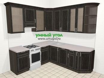 Угловая кухня МДФ патина в классическом стиле 6,7 м², 210 на 230 см, Венге, верхние модули 92 см, посудомоечная машина, отдельно стоящая плита