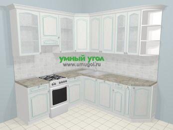 Угловая кухня МДФ патина в стиле прованс 6,7 м², 210 на 230 см, Лиственница белая, верхние модули 92 см, посудомоечная машина, отдельно стоящая плита