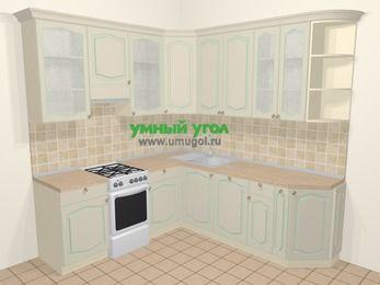 Угловая кухня МДФ патина в стиле прованс 6,7 м², 210 на 230 см, Керамик, верхние модули 92 см, посудомоечная машина, отдельно стоящая плита