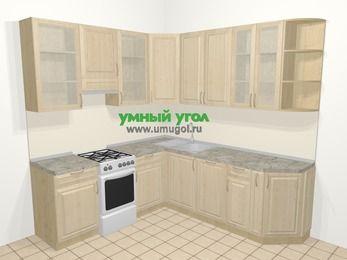 Угловая кухня из массива дерева в классическом стиле 6,7 м², 210 на 230 см, Светло-коричневые оттенки, верхние модули 92 см, посудомоечная машина, отдельно стоящая плита