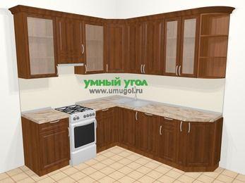 Угловая кухня из массива дерева в классическом стиле 6,7 м², 210 на 230 см, Темно-коричневые оттенки, верхние модули 92 см, посудомоечная машина, отдельно стоящая плита