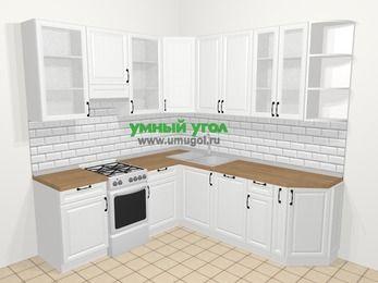 Угловая кухня из массива дерева в скандинавском стиле 6,7 м², 210 на 230 см, Белые оттенки, верхние модули 92 см, посудомоечная машина, отдельно стоящая плита