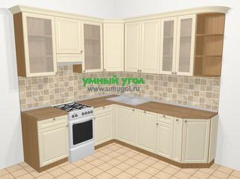 Угловая кухня из массива дерева в стиле кантри 6,7 м², 210 на 230 см, Бежевые оттенки, верхние модули 92 см, посудомоечная машина, отдельно стоящая плита