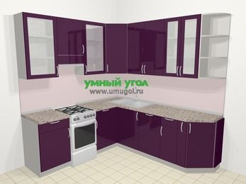 Угловая кухня МДФ глянец в современном стиле 6,7 м², 210 на 230 см, Баклажан, верхние модули 92 см, посудомоечная машина, отдельно стоящая плита