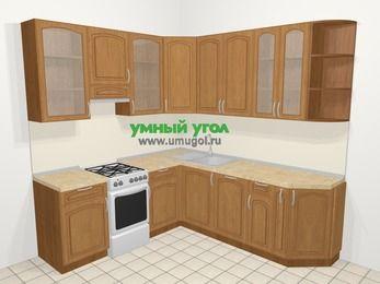 Угловая кухня МДФ патина в классическом стиле 6,7 м², 210 на 230 см, Ольха, верхние модули 92 см, посудомоечная машина, отдельно стоящая плита