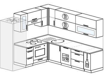 Угловая кухня 6,9 м² (2,1✕2,4 м), верхние модули 72 см, посудомоечная машина, встроенный духовой шкаф, холодильник