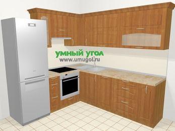 Угловая кухня МДФ матовый в классическом стиле 6,9 м², 210 на 240 см, Вишня, верхние модули 72 см, посудомоечная машина, встроенный духовой шкаф, холодильник