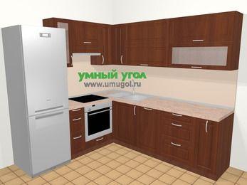Угловая кухня МДФ матовый в классическом стиле 6,9 м², 210 на 240 см, Вишня темная, верхние модули 72 см, посудомоечная машина, встроенный духовой шкаф, холодильник