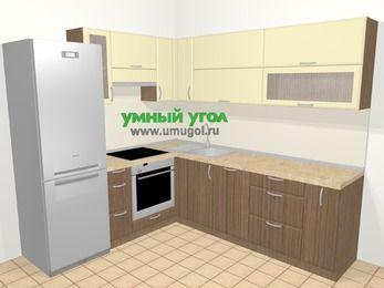 Угловая кухня МДФ матовый в современном стиле 6,9 м², 210 на 240 см, Ваниль / Лиственница бронзовая, верхние модули 72 см, посудомоечная машина, встроенный духовой шкаф, холодильник