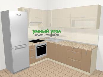 Угловая кухня МДФ матовый в современном стиле 6,9 м², 210 на 240 см, Керамик / Кофе, верхние модули 72 см, посудомоечная машина, встроенный духовой шкаф, холодильник