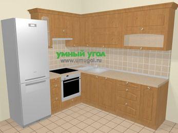 Угловая кухня МДФ матовый в стиле кантри 6,9 м², 210 на 240 см, Ольха, верхние модули 72 см, посудомоечная машина, встроенный духовой шкаф, холодильник