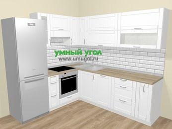 Угловая кухня МДФ матовый  в скандинавском стиле 6,9 м², 210 на 240 см, Белый, верхние модули 72 см, посудомоечная машина, встроенный духовой шкаф, холодильник
