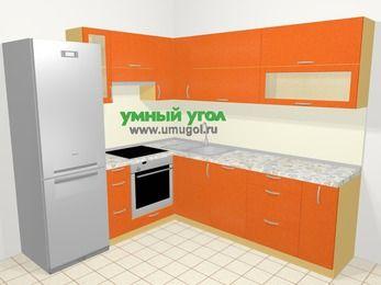 Угловая кухня МДФ металлик в современном стиле 6,9 м², 210 на 240 см, Оранжевый металлик, верхние модули 72 см, посудомоечная машина, встроенный духовой шкаф, холодильник
