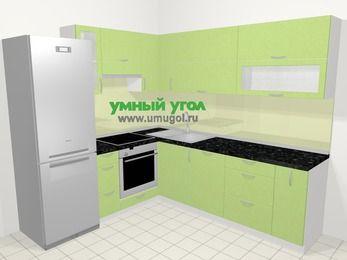 Угловая кухня МДФ металлик в современном стиле 6,9 м², 210 на 240 см, Салатовый металлик, верхние модули 72 см, посудомоечная машина, встроенный духовой шкаф, холодильник
