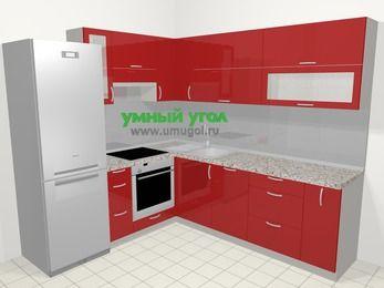 Угловая кухня МДФ глянец в современном стиле 6,9 м², 210 на 240 см, Красный, верхние модули 72 см, посудомоечная машина, встроенный духовой шкаф, холодильник