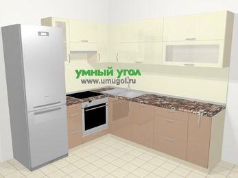 Угловая кухня МДФ глянец в современном стиле 6,9 м², 210 на 240 см, Жасмин / Капучино, верхние модули 72 см, посудомоечная машина, встроенный духовой шкаф, холодильник