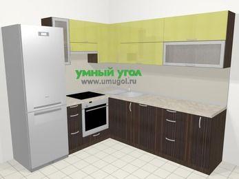 Кухни пластиковые угловые в современном стиле 6,9 м², 210 на 240 см, Желтый Галлион глянец / Дерево Мокка, верхние модули 72 см, посудомоечная машина, встроенный духовой шкаф, холодильник