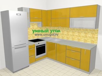 Кухни пластиковые угловые в современном стиле 6,9 м², 210 на 240 см, Желтый глянец, верхние модули 72 см, посудомоечная машина, встроенный духовой шкаф, холодильник