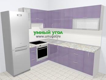 Кухни пластиковые угловые в современном стиле 6,9 м², 210 на 240 см, Сиреневый глянец, верхние модули 72 см, посудомоечная машина, встроенный духовой шкаф, холодильник
