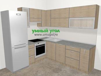 Кухни пластиковые угловые в стиле лофт 6,9 м², 210 на 240 см, Чибли бежевый, верхние модули 72 см, посудомоечная машина, встроенный духовой шкаф, холодильник