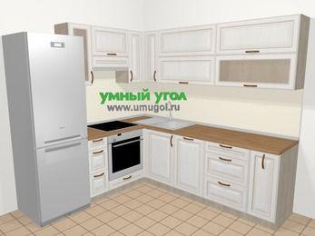 Угловая кухня МДФ патина в классическом стиле 6,9 м², 210 на 240 см, Лиственница белая, верхние модули 72 см, посудомоечная машина, встроенный духовой шкаф, холодильник
