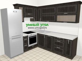 Угловая кухня МДФ патина в классическом стиле 6,9 м², 210 на 240 см, Венге, верхние модули 72 см, посудомоечная машина, встроенный духовой шкаф, холодильник