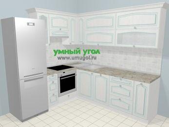 Угловая кухня МДФ патина в стиле прованс 6,9 м², 210 на 240 см, Лиственница белая, верхние модули 72 см, посудомоечная машина, встроенный духовой шкаф, холодильник