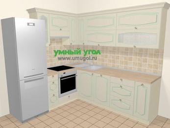 Угловая кухня МДФ патина в стиле прованс 6,9 м², 210 на 240 см, Керамик, верхние модули 72 см, посудомоечная машина, встроенный духовой шкаф, холодильник