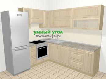 Угловая кухня из массива дерева в классическом стиле 6,9 м², 210 на 240 см, Светло-коричневые оттенки, верхние модули 72 см, посудомоечная машина, встроенный духовой шкаф, холодильник