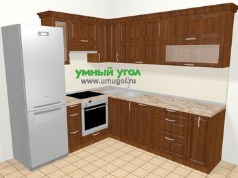 Угловая кухня из массива дерева в классическом стиле 6,9 м², 210 на 240 см, Темно-коричневые оттенки, верхние модули 72 см, посудомоечная машина, встроенный духовой шкаф, холодильник