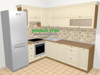 Угловая кухня из массива дерева в стиле кантри 6,9 м², 210 на 240 см, Бежевые оттенки, верхние модули 72 см, посудомоечная машина, встроенный духовой шкаф, холодильник