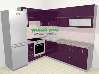 Угловая кухня МДФ глянец в современном стиле 6,9 м², 210 на 240 см, Баклажан, верхние модули 72 см, посудомоечная машина, встроенный духовой шкаф, холодильник