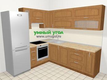 Угловая кухня МДФ патина в классическом стиле 6,9 м², 210 на 240 см, Ольха, верхние модули 72 см, посудомоечная машина, встроенный духовой шкаф, холодильник